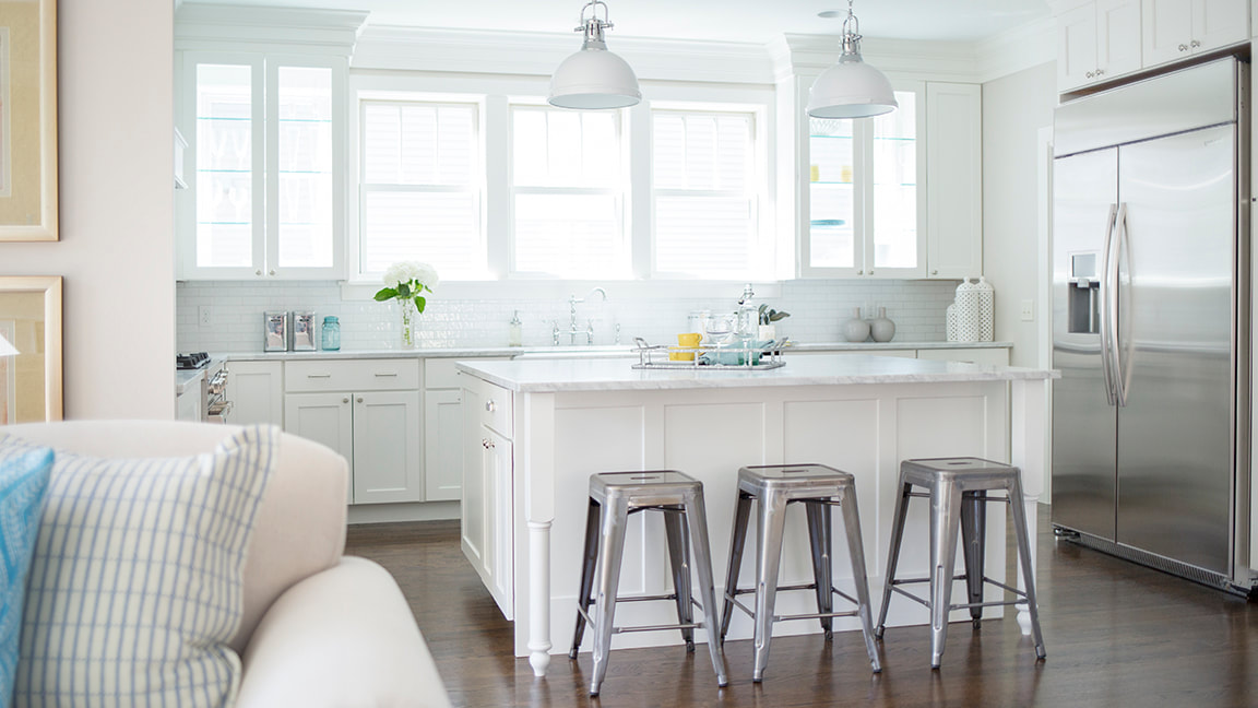 Kitchen Island with Metal Bar Stools